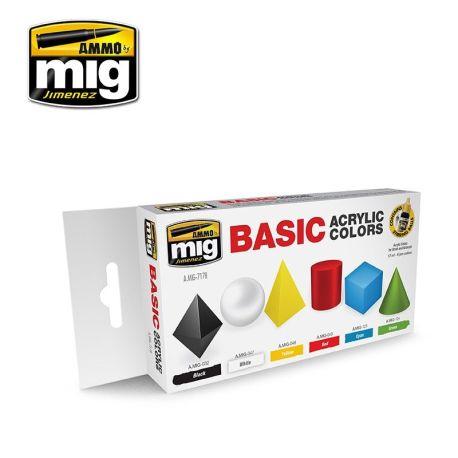 AMIG7178 Basic Acrylic colors sæt 6 x 17 ml.