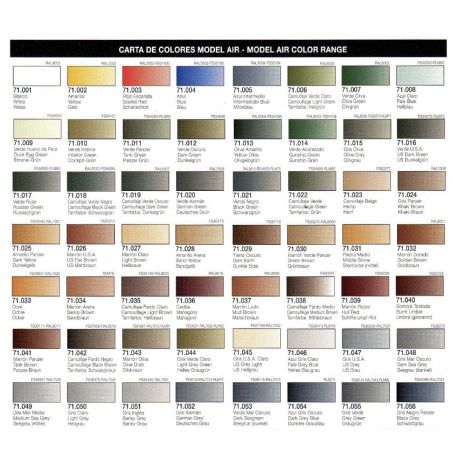 Vallejo Model Air Color Chart Airbrushshop Danmark